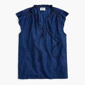 NWT JCREW Sleeveless tie-neck top metallic Striped